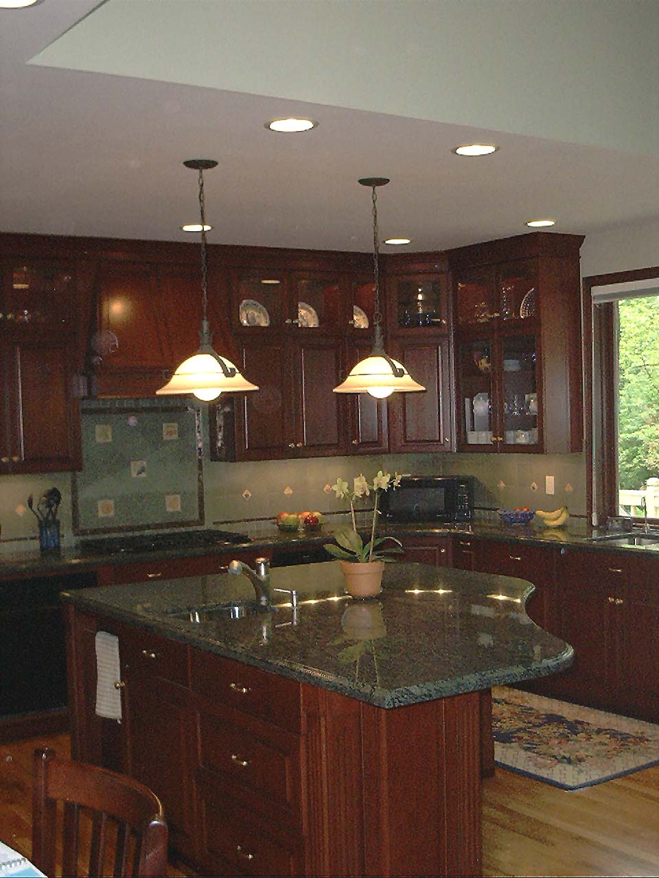 ... stained cherry kitchen custom cabinets ...