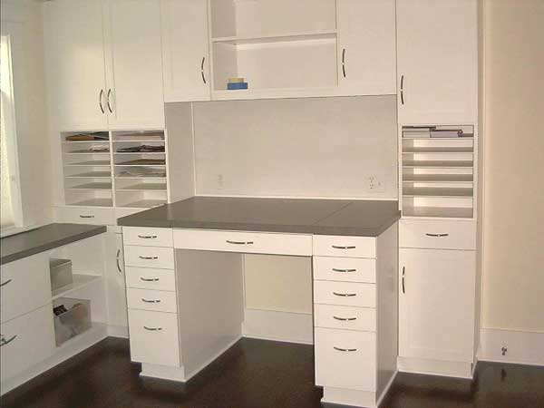 ... custom painted craft table and storage cabinet ...